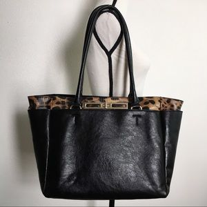 Aldo large tote bag leopard black faux leather